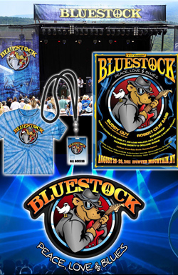 Overall Branding Design for Bluestock Music Festival, Hunter Mountain NY. Logo Design, Poster Design, T-Shirt Design and more.